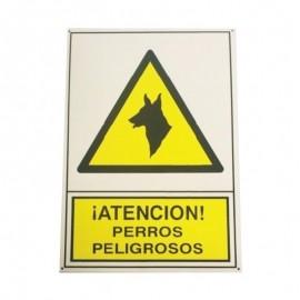 Placa señalización perros peligrosos