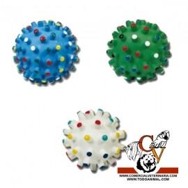 Pelota con puntas de colores de goma